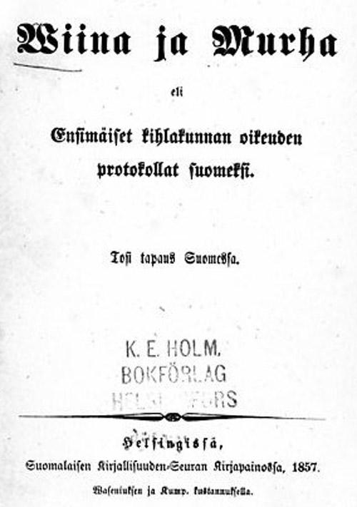 Suomalaisen kirjallisuuden nseuran julkaiseman kirjan nimilehti.