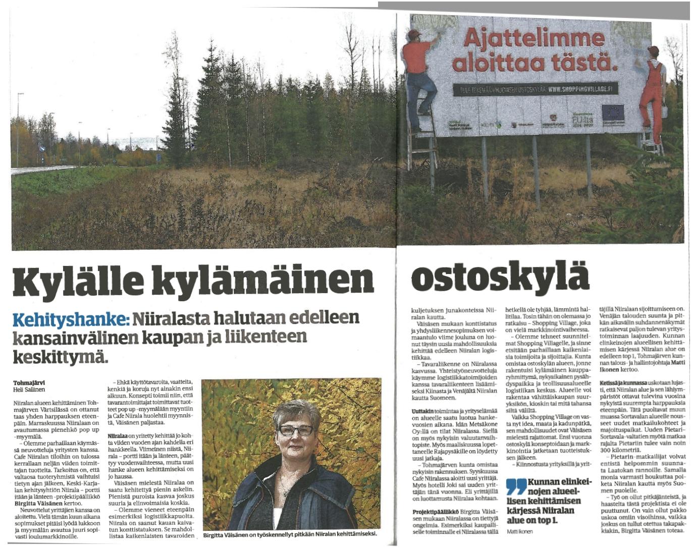 Sanomalehti Karjalainen 21.10.2017