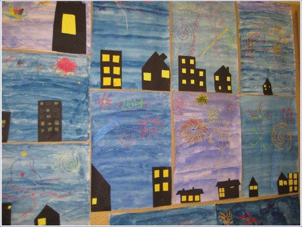 Heti Uudenvuoden jälkeen 3-4 luokkalaiset muistelivat vuodenvaihteen ilotulitusta.