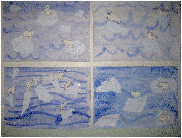 Eläinmaailmassa pysyivät myös 3-4 luokkalaiset. He taiteilivat jääkarhuja seikkailemaanjäälautoille.