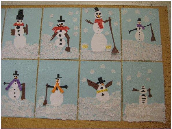 1-2 luokkalaiset taiteilivat lumiukkoja.