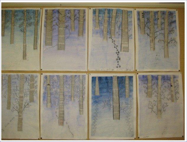 5-6 luokkalaiset kuvasivat talvista luontoa eläinten jälkineen. Puunrunkoihin on käytettysanomalehtien tekstejä.