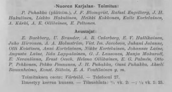 Toimitus ja avustajat vuonna 1910.