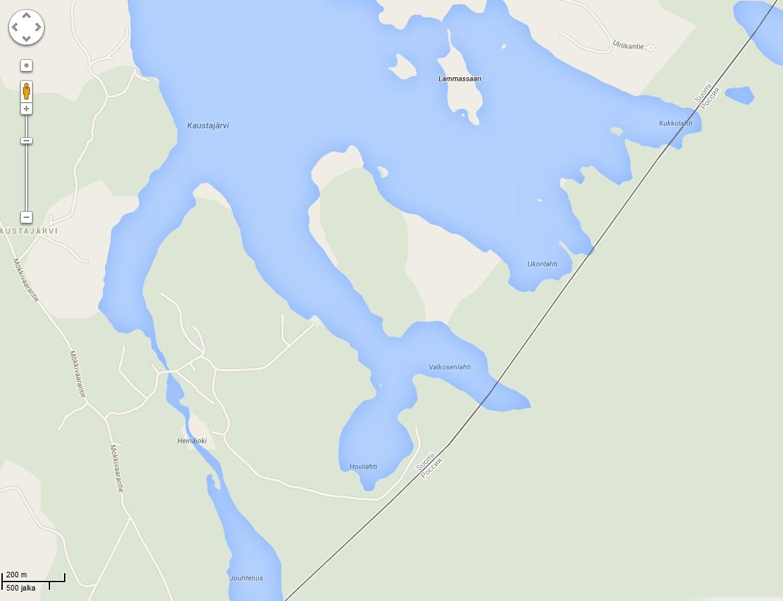 Valtakunnan raja vastassa. Tietä ei ole järven ympäri. Klikkaa hiirellä suuremmaksi.
