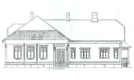Julkisivukuva. Luokat olivat rakennuksen vasemmassa päädyssä, oikeassa päädyssä asunto.