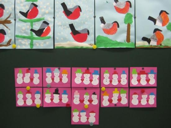punatulkkuja sekä ystävänpäiväkortteja 1-2lk