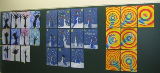 puun siluetteja lumiukkoja sekä värikkäitä käsiä 3-4 lk