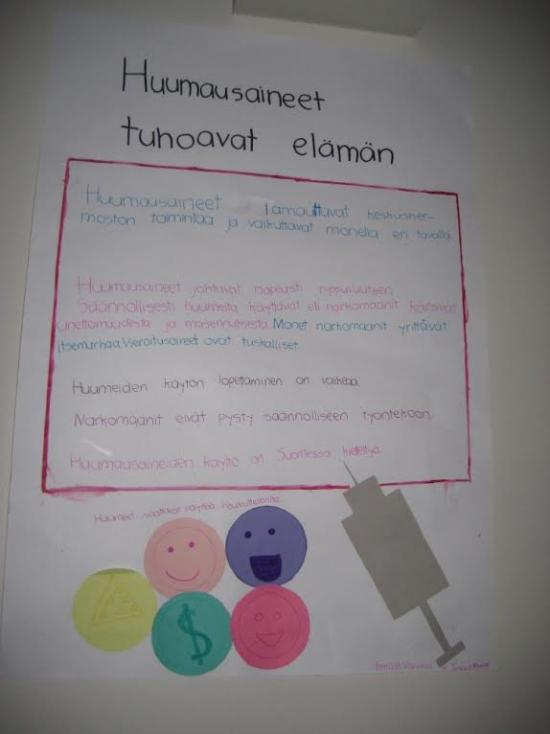 ryhmätyö huumeiden vaikutuksista 5-6 lk