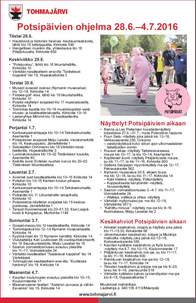 Potsipäivät 2016 ohjelma